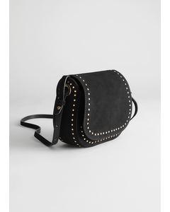 Studded Suede Shoulder Bag Black