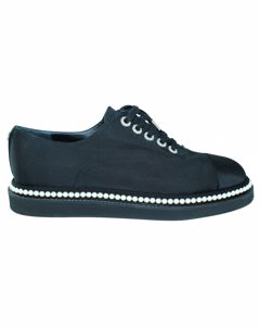 Black Fabric Lace Up Shoes With Faux Pearls