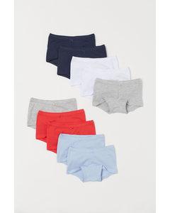 Set Van 10 Katoenen Boxerslips Marineblauw/wit/rood
