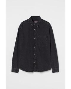 Hemdjacke aus Denim Schwarz