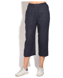 Fluid Straight Cut Cropped Trouser With Pockets And Elastic Waistband