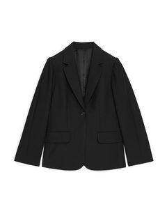 Puff Sleeve Blazer Black