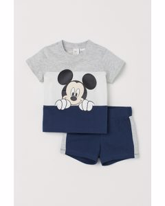 Tweedelige Tricot Set Donkerblauw/mickey Mouse