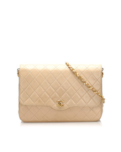 Chanel Cc Timeless Lambskin Leather Shoulder Bag White
