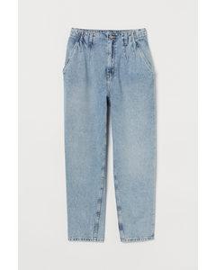 Mom High Pleated Jeans Ljus Denimblå