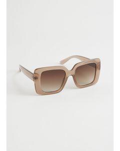Squared Frame Oversized Sunglasses Beige