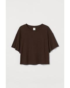 Geripptes Cropped Shirt Dunkelbraun