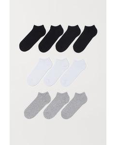 10er-Pack Kurzsocken Weiß/Graumeliert/Schwarz