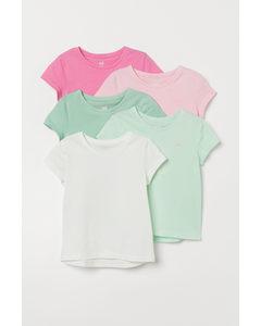 5er-Pack Jerseyshirts Rosa/Hellgrün