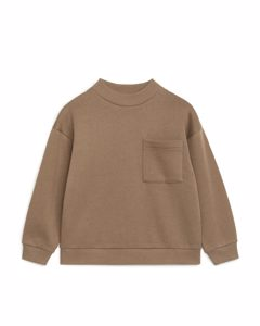 Sweatshirt mit Stehkragen Braun