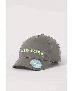 Twillkeps Med Motiv Khakigrön/new York