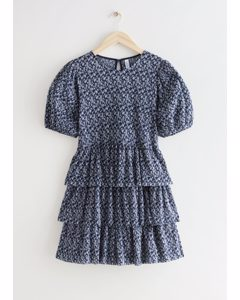 Tiered Printed Mini Dress Blue Print